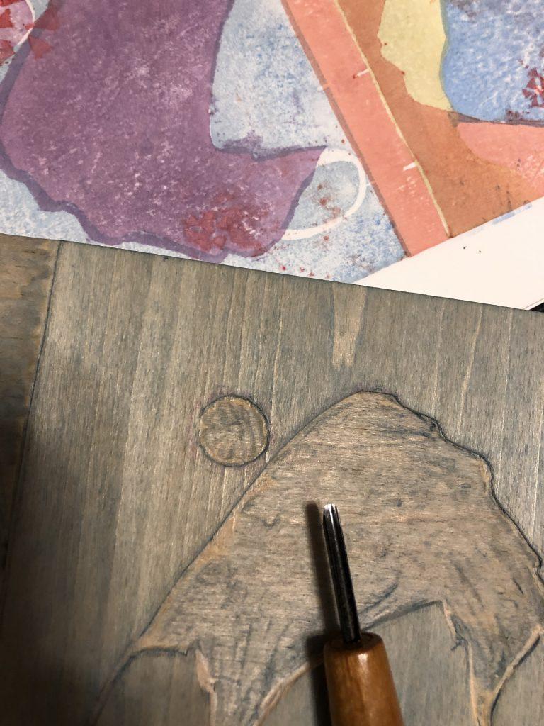 Revising a woodblock for mokuhanga