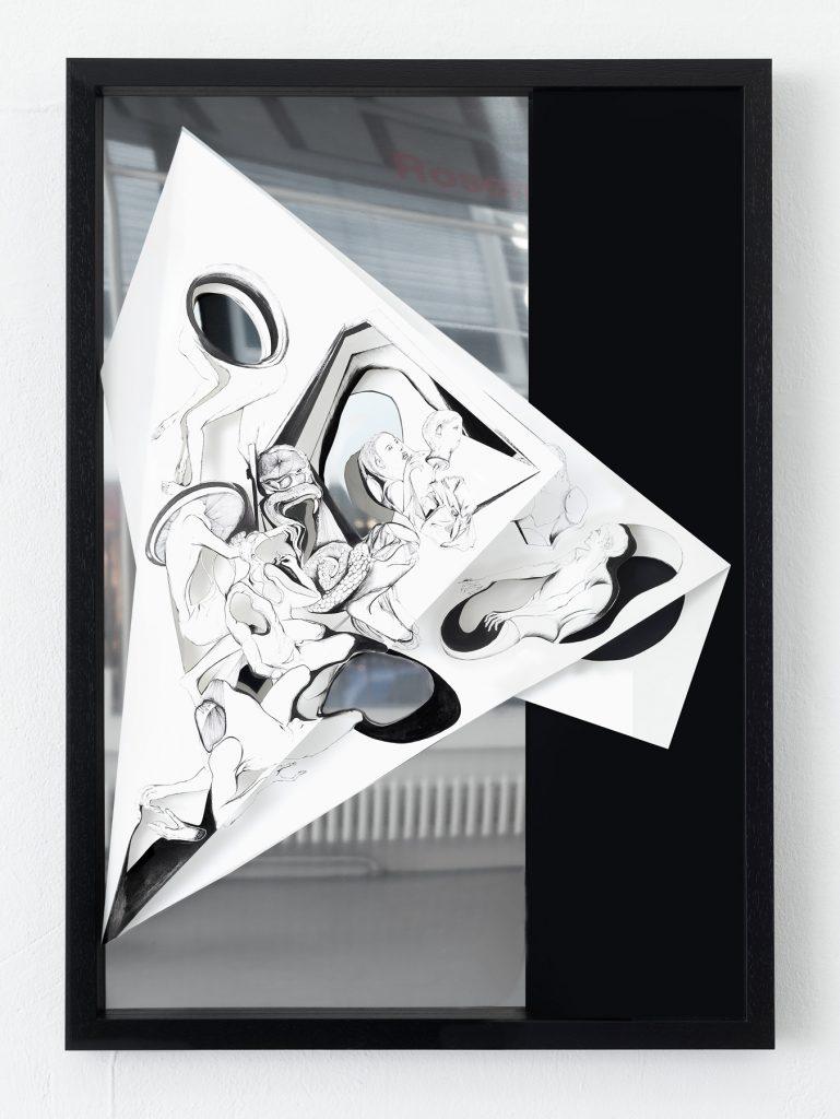 Nina-Annabelle-Maerkl_Torsionen_1_105 x 75 x 5 cm_Ink on folded paper, Cutouts, black cardboard, polished steel_2016_photo_Walter Bayer